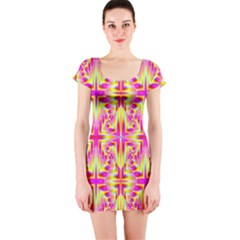 Pink and Yellow Rave Pattern Short Sleeve Bodycon Dress