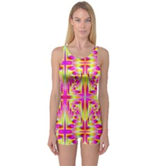 Pink and Yellow Rave Pattern Women s Boyleg One Piece Swimsuits