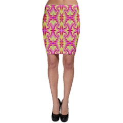 Pink and Yellow Rave Pattern Bodycon Skirts