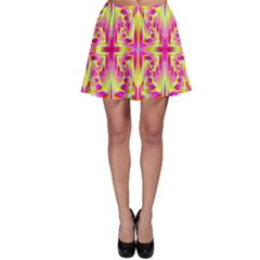 Pink And Yellow Rave Pattern Skater Skirts