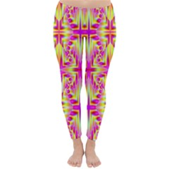 Pink and Yellow Rave Pattern Winter Leggings