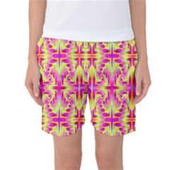 Pink And Yellow Rave Pattern Women s Basketball Shorts