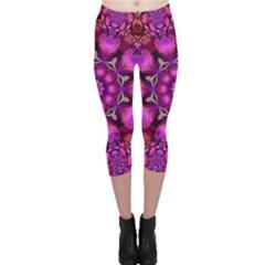 Pink Fractal Kaleidoscope  Capri Leggings