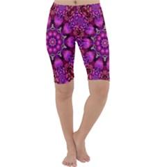 Pink Fractal Kaleidoscope  Cropped Leggings