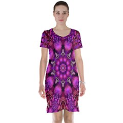 Pink Fractal Kaleidoscope  Short Sleeve Nightdress