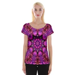 Pink Fractal Kaleidoscope  Women s Cap Sleeve Top