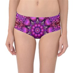Pink Fractal Kaleidoscope  Mid-Waist Bikini Bottoms