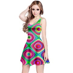 Psychedelic Checker Board Reversible Sleeveless Dress