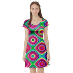 Psychedelic Checker Board Short Sleeve Skater Dress