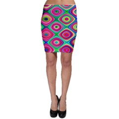 Psychedelic Checker Board Bodycon Skirts