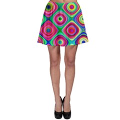 Psychedelic Checker Board Skater Skirts