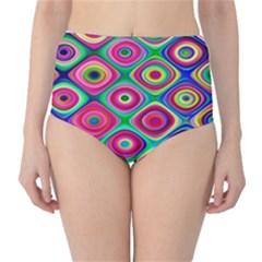 Psychedelic Checker Board High-Waist Bikini Bottoms