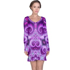 Purple Ecstasy Fractal Long Sleeve Nightdress
