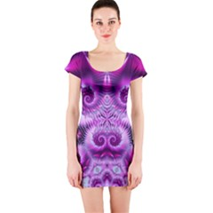 Purple Ecstasy Fractal Short Sleeve Bodycon Dress