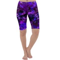 Purple Skulls Goth Storm Cropped Leggings