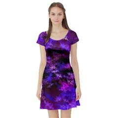 Purple Skulls Goth Storm Short Sleeve Skater Dress