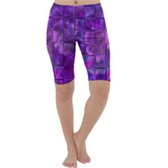 Purple Squares Cropped Leggings