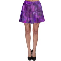 Purple Square Tiles Design Skater Skirts