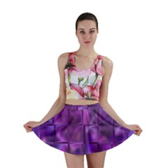 Purple Square Tiles Design Mini Skirts