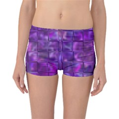 Purple Square Tiles Design Boyleg Bikini Bottoms