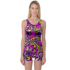 Purple Tribal Abstract Fish One Piece Boyleg Swimsuit