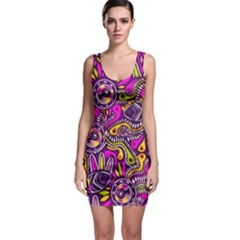 Purple Tribal Abstract Fish Bodycon Dress