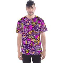 Purple Tribal Abstract Fish Men s Sport Mesh Tee