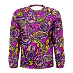 Purple Tribal Abstract Fish Men s Long Sleeve T-shirt