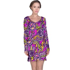 Purple Tribal Abstract Fish Long Sleeve Nightdress