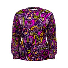 Purple Tribal Abstract Fish Women s Sweatshirt