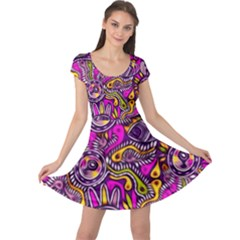 Purple Tribal Abstract Fish Cap Sleeve Dress