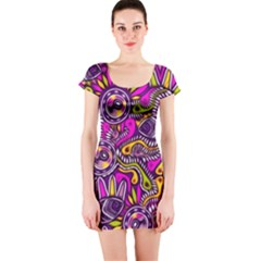 Purple Tribal Abstract Fish Short Sleeve Bodycon Dress