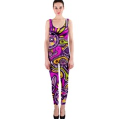 Purple Tribal Abstract Fish Onepiece Catsuit