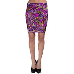 Purple Tribal Abstract Fish Bodycon Skirts