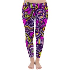 Purple Tribal Abstract Fish Winter Leggings