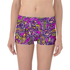 Purple Tribal Abstract Fish Boyleg Bikini Bottoms