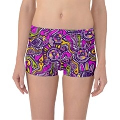 Purple Tribal Abstract Fish Reversible Boyleg Bikini Bottoms