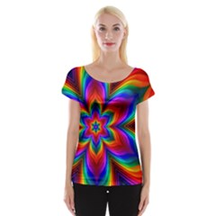Rainbow Flower Women s Cap Sleeve Top