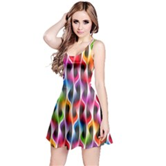 Rainbow Psychedelic Waves Reversible Sleeveless Dress