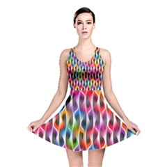 Rainbow Psychedelic Waves Reversible Skater Dress