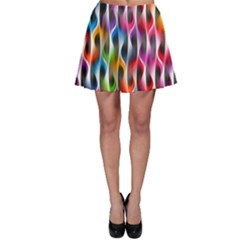 Rainbow Psychedelic Waves  Skater Skirts