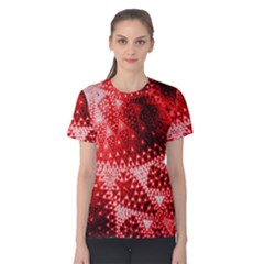 Red Fractal Lace Women s Cotton Tee