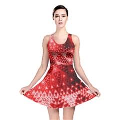 Red Fractal Lace Reversible Skater Dress