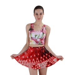 Red Fractal Lace Mini Skirts
