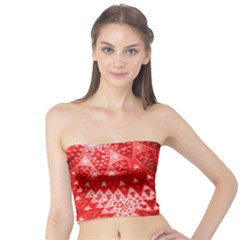 Red Fractal Lace Women s Tube Tops