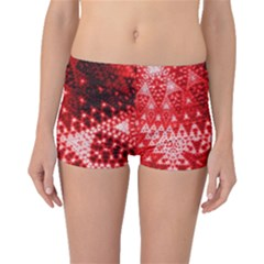 Red Fractal Lace Boyleg Bikini Bottoms