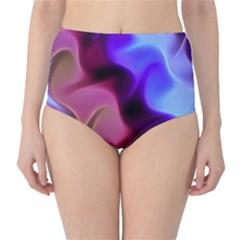 Rippling Satin High-Waist Bikini Bottoms