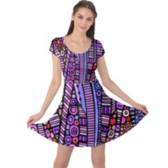 Stained glass tribal pattern Cap Sleeve Dress