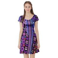 Stained glass tribal pattern Short Sleeve Skater Dress