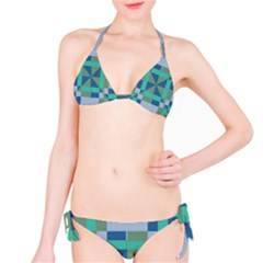 Green blue shapes Bikini set